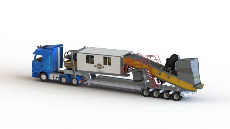 Cabine de tri Screenpod SPS122 M Lheureux 3 - Remorquage d'une Cabine de tri mobile - crible mobile location - concasseur mobile location - scalpeur occasion - centre de tri des déchets après une vente en France