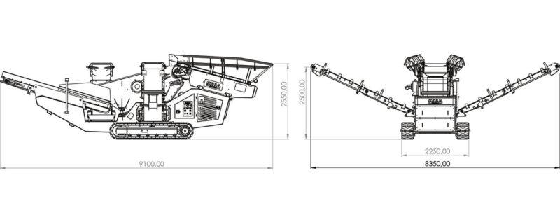 Plan du Crible Mobile Compact 2 étages 2.5m² SEBA S25-10 - Châssis chenilles, en vente et en location chez les agences Lheureux de toute la France