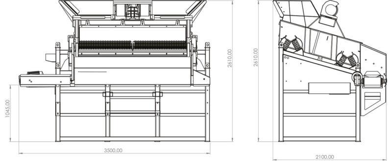 Plan du Crible Mobile Compact 2 étages 3m² SEBA LS26C - Convoyeur de produits intermédiaires