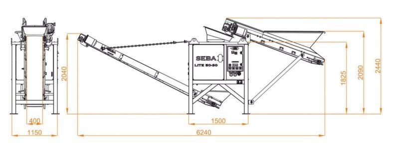 Plan avec les dimensions du Concasseur Mobile Compact SEBA LITE 50-30 à retrouver dans les agences Lheureux