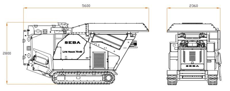 Plan avec dimensions du Concasseur Mobile Compact SEBA LITE TRACK 70-40