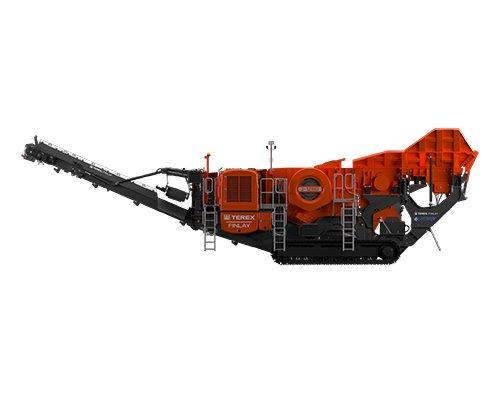 Concasseur à mâchoires Terex Finlay J-1280 de profil avec le tapis convoyeur avant ouvert